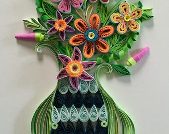 Flower In Vase:Handmade Quilled Flower-Wall Art Picture-Handmade Special Gift-House Warming Gift-Special Flower Design-Gift For Occasions