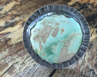 Sterling Silver & Royston Turquoise Statement Ring Size 7.5