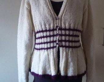 Knitted peplum ecru purple knit jacket BELLA 38/40