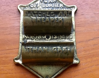 Antique Brass Match Holder Patented June 13, 1899