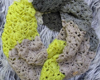 Electric Chic - Infinity scarf - Spring scarf - Soft scarf - Crochet scarf - Homemade scarf - Multicolor - Made to order