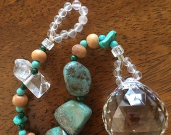 Turquoise + Quartz Sun Catcher ~ Genuine Crystals ~ Swarovski Prism ~ Reiki-infused Energy ~~~ free shipping :)