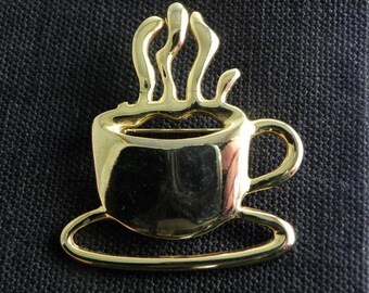 SFJ Gold tone Coffee Cup Steaming Brooch