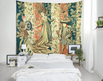 Wall Tapestries, Medieval Art, Textile Tapestry, Wall Art, Home Decoration, House Warming Gift, Wall Decor