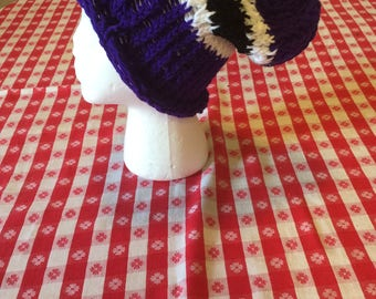 crochet purple white and black slouchy hat