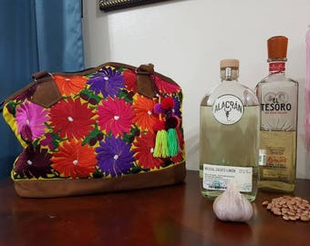 embroidered Mexican Leather Handbag