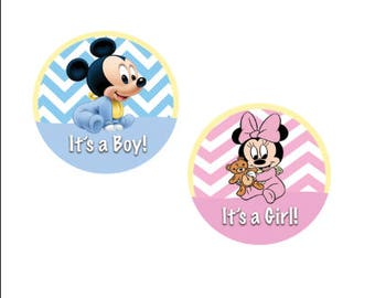 It's A Boy! It's A Girl! Pin Back Buttons - Minnie and Mickey Inspired Gender Reveal Pin - Theme Park Button - Baby Shower Button