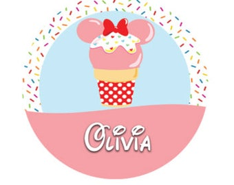 Minnie Mouse Inspired Ice Cream Cone Button - Personalized Disney Button - Theme Park Button