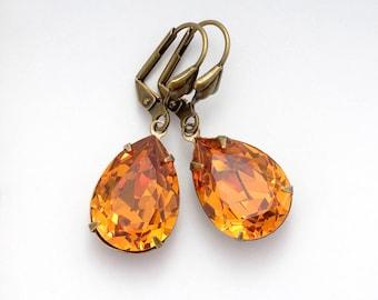 Topaz Yellow Rhinestone Earrings, Yellow Dangle Earring, Nickel Free Earrings, Swarovski Crystal Earring, Yellow Swarovski Jewelry, Fiorenza