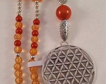 XL necklace made of acrylic beads, Polarisperle, carnelian and the flower of life with tassel