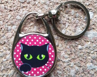 Black Cat on Red and White Polka Dot Background Keychain