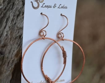 Hammered Copper Hoops with Lapis Drops