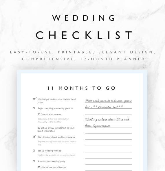 Wedding Checklist Printable  Month Wedding Planning