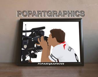 "Steven Gerrard Print Steven gerrard poster wall art home decor, illustrated 17""x11"""