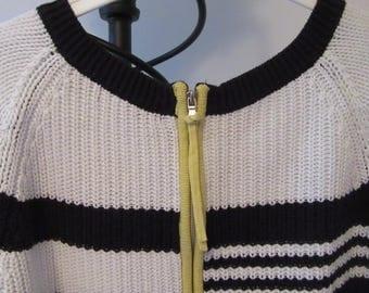 Retro Sweater. Black and White Sweater. Retro Jumper. Retro Cotton Mix Sweater. Zip Back Retro Sweater. Modernist 1990 Sweater. 1990 Jumper