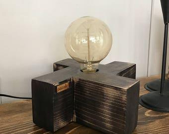 CARA - Handmade wooden table lamp, Table lamp, Desk lamp, Wood lamp, Wood, Edison Bulb, Spanish Black