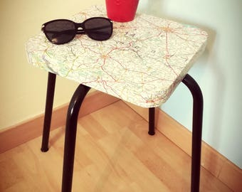 "vintage ""map"" stool side table"