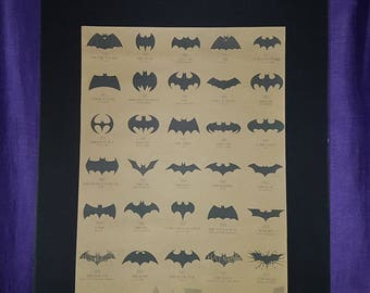 Evolution of Batman Mounted Poster