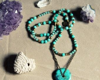Native Turquoise necklace with amazonite gemstones