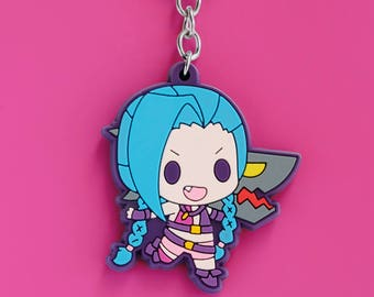 Jinx Rubber Keychain - League of Legends Inspired
