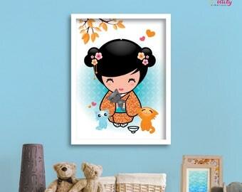 """PRINT POSTER decor baby girl """"Baby Kiyo"""" blue and orange KOKESHI Kawaii"""