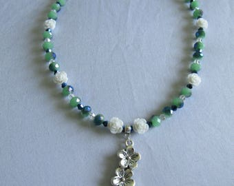 Green & blue Glass Beaded Rose Necklace