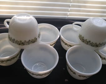 Pyrex Spring Green Blossom Vintage Tea Cups, Set of 8
