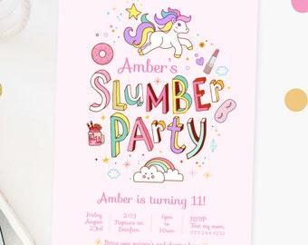 INSTANT DOWNLOAD - Slumber Party Invite | Pajama Party Invite | Sleepover Party Invite