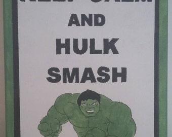 Hand Painted Canvas - Hulk - Smash