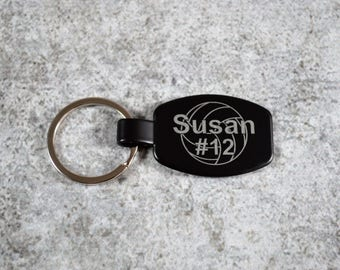 Personalized Sports Keychain - Custom Keyring - Sports Keychain - Black Keychain - Volleyball Keychain - Team Keychain - Volleyball