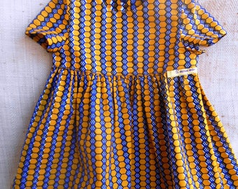 Dress baby wax, African baby 3 to 18 months, wax blue yellow, see matching turban