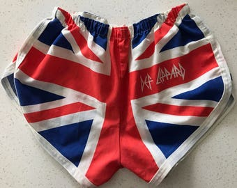 Vintage 1980s Def Leppard Union Jack shorts - RARE