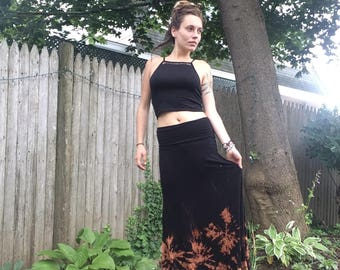 One of a kind hand dyed maxi skirt