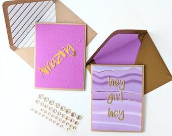 Amazing & Hey Girl Hey Affirmations Card Set (2) - Handmade