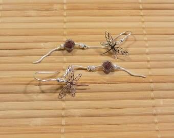 Bohemian earrings black crystal with 925 sterling silver dragonflies