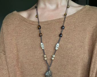 Tigers Eye macrame hemp necklace with picture jasper and african beads
