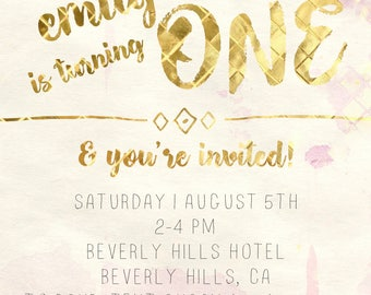 Gold First Birthday Invitation Customizable