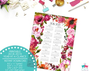 Academic Year-at-a-Glance 2018-2019 | Blush Flowers | Digital | Instant Download | Printable