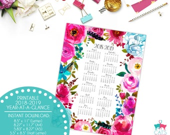 Academic Year-at-a-Glance 2018-2019 | Boho Chic Flowers | Digital | Instant Download | Printable