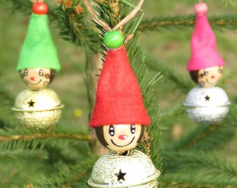"set of 3 Elves Christmas Bell, Christmas decoration, wooden ""smile ball"" beads figurine handpainted colours"