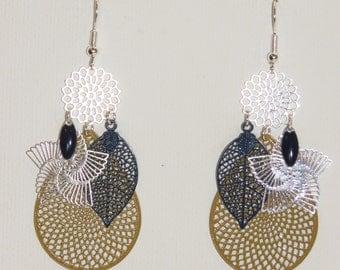 Earrings drops, leaves, prints, flowers, mustard earrings and Navy Blue, silver, resin Earrings fashion shuttle
