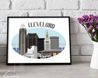 Cleveland Skyline - Cleveland Illustration - The Land - Wall Art - Digital Download
