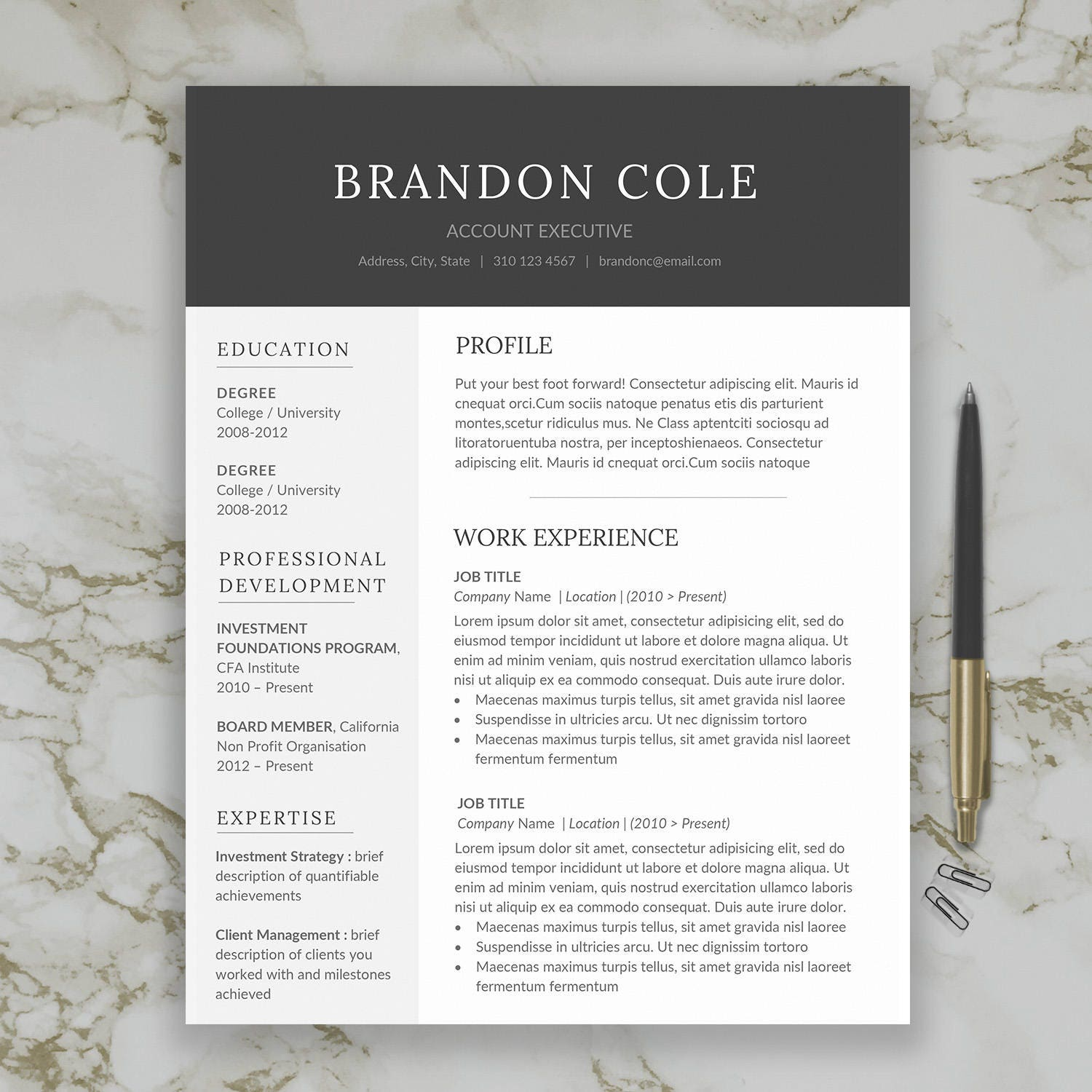 Modern Man Resume Template For Word Professional Man Resume