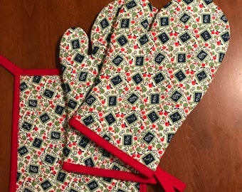 Quilted oven mitts and hot pads,  handmade