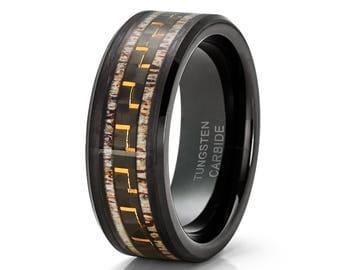 Deer Antler Tungsten Wedding Band Black Tungsten Ring Men's Tungsten Carbide Ring Carbon Fiber Men & Women Engagement
