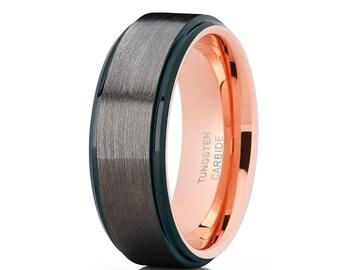 Grey Tungsten Wedding Band Rose Gold Tungsten Ring Men & Women Brush Wedding Band Tungsten Carbide Ring Black Ring