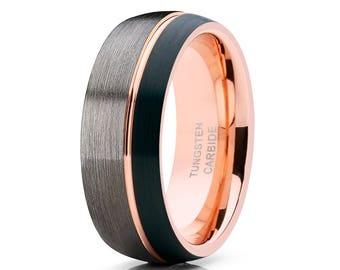 Rose Gold Tungsten Wedding Band Men & Women Tungsten Wedding Band Gunmetal Tungsten Ring Black Wedding Band