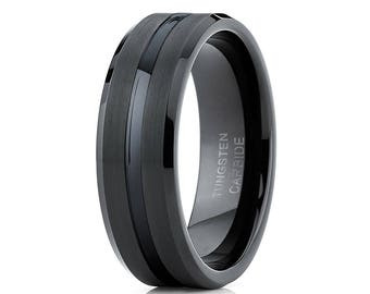 Men's Tungsten Wedding Band Black Tungsten Ring Centered Groove Men & Women Tungsten  Carbide Ring Brush