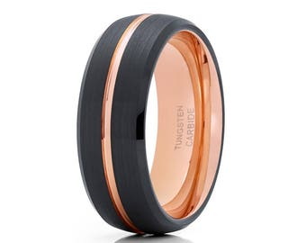 Rose Gold Tungsten Wedding Band Black Tungsten Ring Men & Women Tungsten Carbide Ring Centered Groove