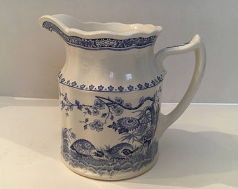 Old Furnivals 1913 Quail Transferware Blue Creamer Pitcher Scalloped Top 2 cup Made in England